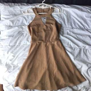 Nude Halter-Skater Dress