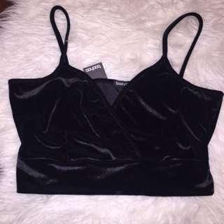 Boohoo Black Velvet Crop Top