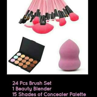 24 Pcs Brush, Beauty Blender, 15 concealer palette