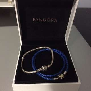 Pandora Leather And Silver Bracelets