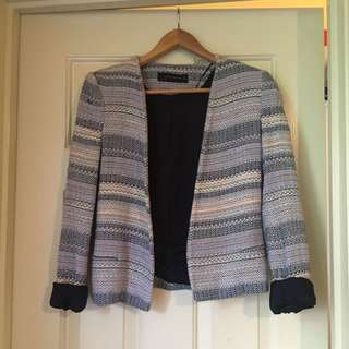 Zara Size Small  Blue Wool With Silk Lining Jacket