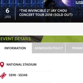 JAY CHOU INVINCIBLE 2018 Concert Tour Event Tickets