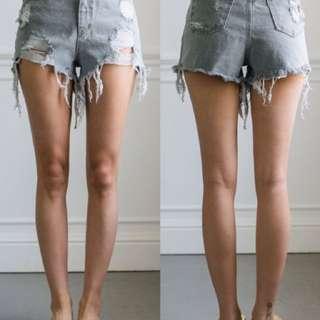 Fashion for yes正韓灰色刷破高腰短褲
