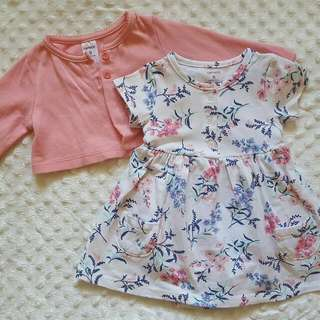 Carter's Floral Dress With Cardigan