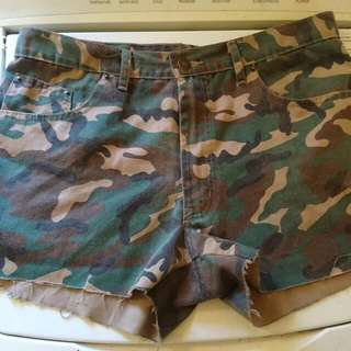 High Waisted Camo Shorts