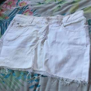 White Ripped Denim Skirt