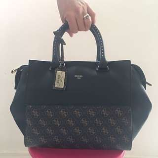 GUESS Hailey Bag - Black and Brown