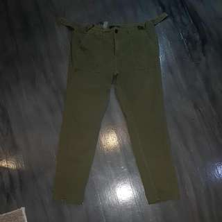 21 Men Olive Green Rugged Pants