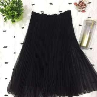 百褶雪紡黑紗裙
