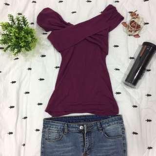 深紫色顯瘦露肩T-Shirt