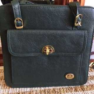 Bottle Green Vintage Look Bag