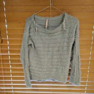 Fluffy Grey Jumper In Small