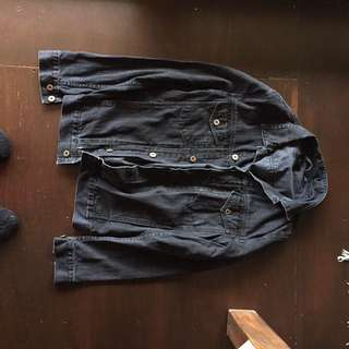 Men's Black Globe Denim Jacket Size S