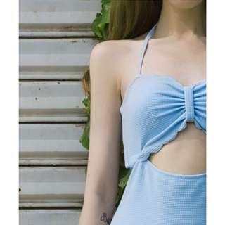 復古粉藍中空連體泳衣比基尼