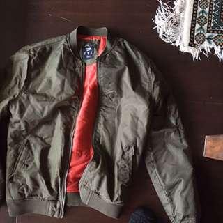 Men's Bomber Jacket Khaki Green Size M
