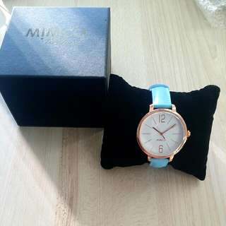 Mimco Ilsa Timepiece Cornflower Blue And Rose Gold