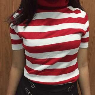 [REPRICE] Turtle Neck Red-white Stripes