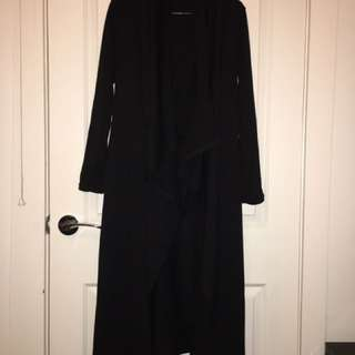 Black Long Winter Cardigan Drape Front