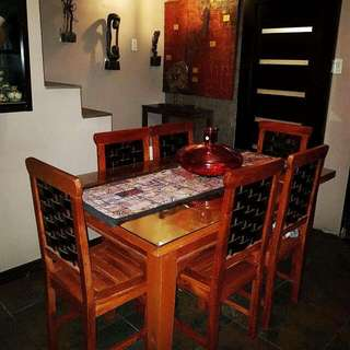 6-Seater Dining Set  Made of solid mahogany wood with intricate overlapping weave pattern on seat backrest and table