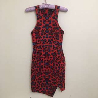 Nicholas Red Leopard Print Dress