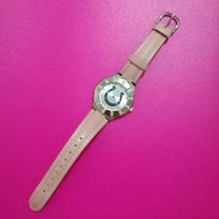Pink Genuine Leather Watch