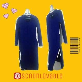 Navy Magnolia Slit Dress Shirt