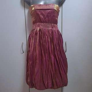 Tube Satin Magenta Dress