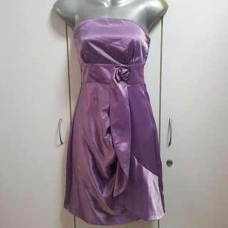 Purple Satin Tube Dress