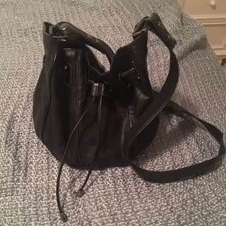 MIMCO Black Leather Bucket Bag