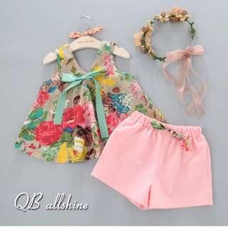 女童套裝 甜美蝴蝶結碎花傘狀背心套裝