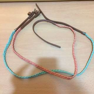 編織式腰帶兩條 (粉紅+淺綠)