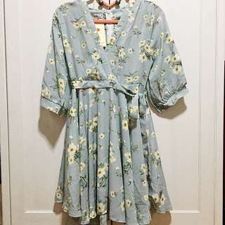 SALE!!! BNWT/ Brand New With Tags Korean Light Blue Floral Wrap Dress
