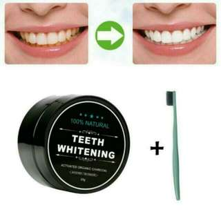 1 + 1 + 1 + 1 = 4 Items !  Activated Charcoal Teeth Whitening Powder Toothpaste + 1 Free toothbrush + Coconut Oil + Teeth Whitening Strip! Value Pack [ Restock ]