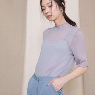 Velvet薄透質感上衣(黑/灰)