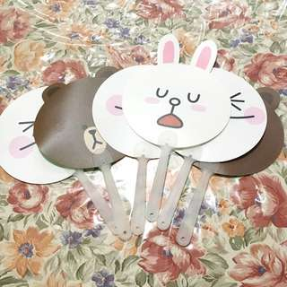 Kipas Line Sticker Brown Cony Moon