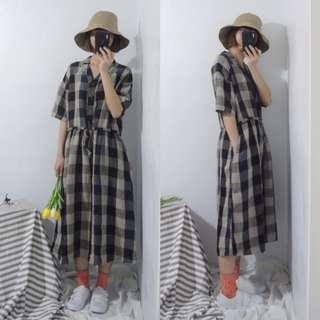 。error dot。日本黑X藍低調配色格紋棉麻洋裝