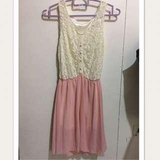 Floral Lace Pink Chiffon Dress
