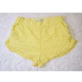 Pastel Yellow Zara Lace Shorts