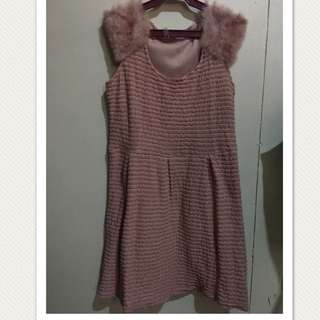 Pink Occassional Dress With Fur
