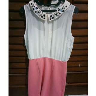 Dress putih pink