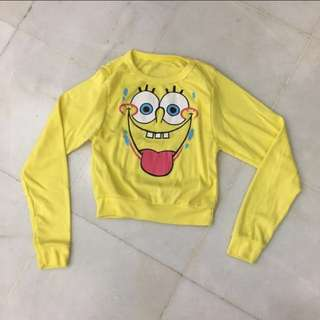 Sponge Bob Yellow Sweater Top Long Sleeve