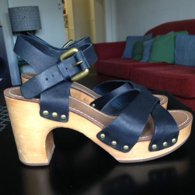 70's Style Clog Open Toed Sandals