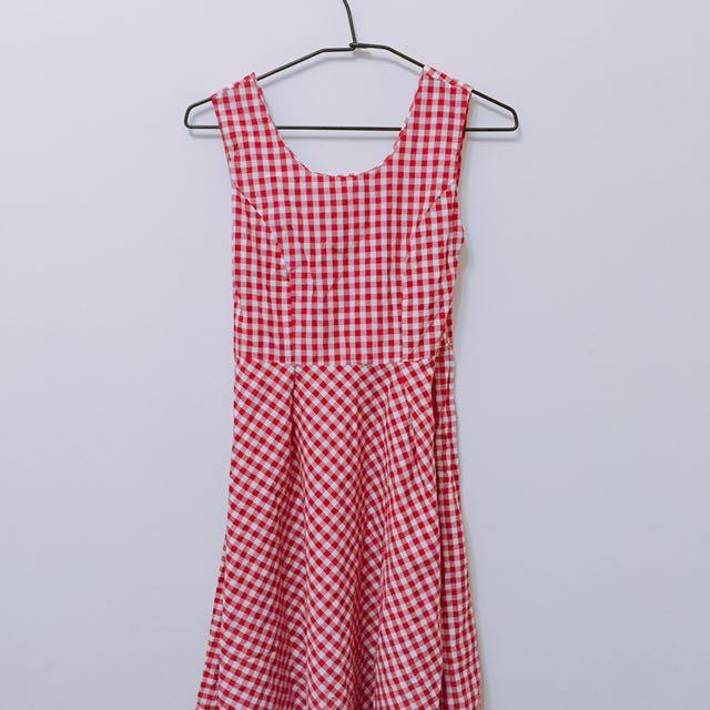 紅格子洋裝裙子❤️