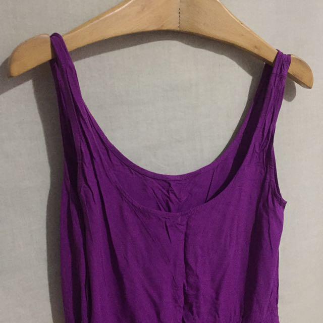 夏日紫色寬鬆洋裝