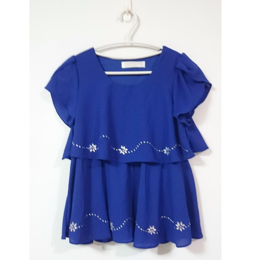 寶藍色雪紡上衣