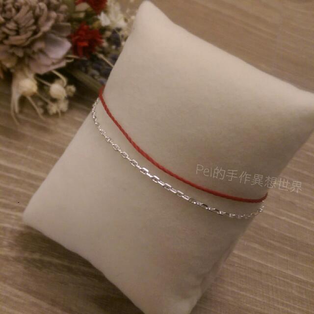 開運 避邪 紅線 紅繩 純銀 手鍊 巴西蠟線 訂製 手環