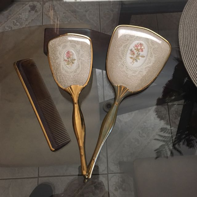 Antique Mirror, Brush, And Comb Set - Made In England