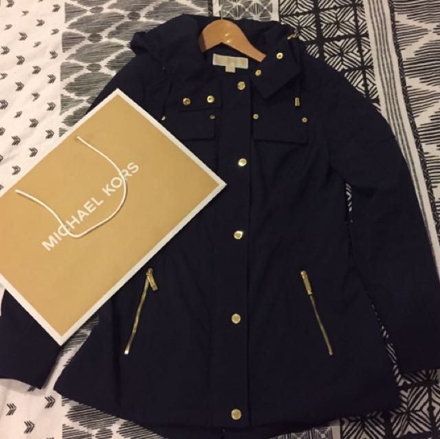 Authentic Michael Kors Navy Blue Hooded Jacket Coat with Gold Hardware