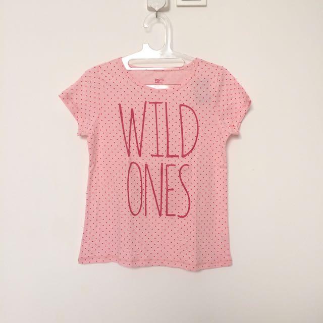 Basic Tee Shirt Kaos Pink Polkadot Branded Padini T-Shirt Polos