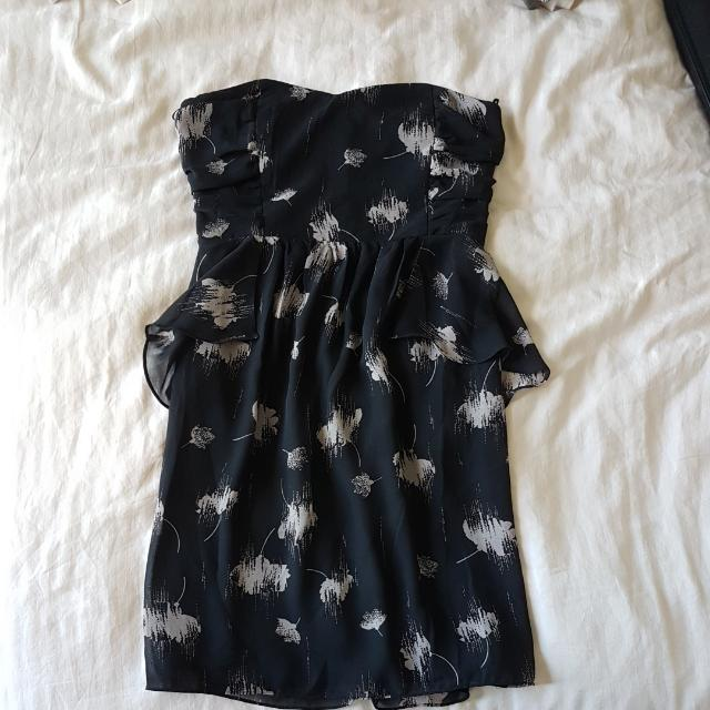 Black Print Strapless Dress